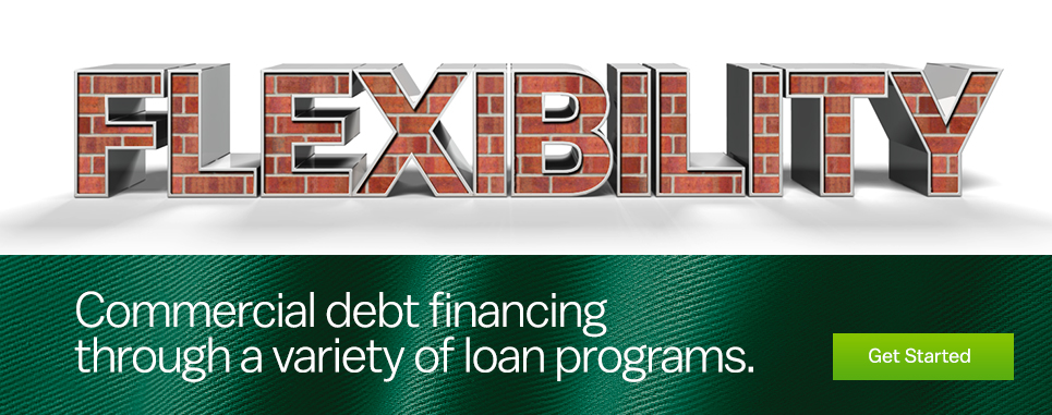 Commercial debt financing through a variety of loan programs.